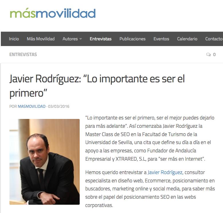 Entrevista en el medio Más Movilidad a Javier Rodríguez